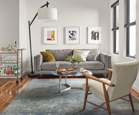 Cade Sofa With Clarkson Floor Lamp