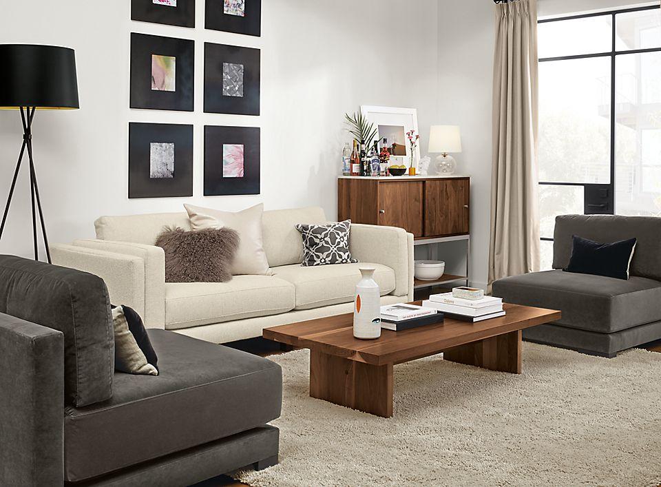 Side detail of Cade sofa in modern living room