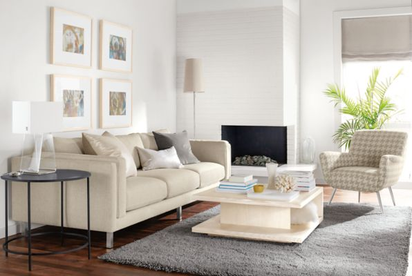 Cade Three Cushion Sofa In Orla Ivory