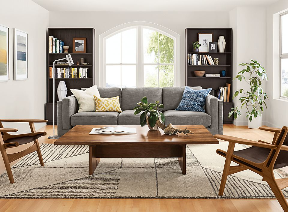 Cade Sofa with Keaton Bookcases Living Room - Room & Board