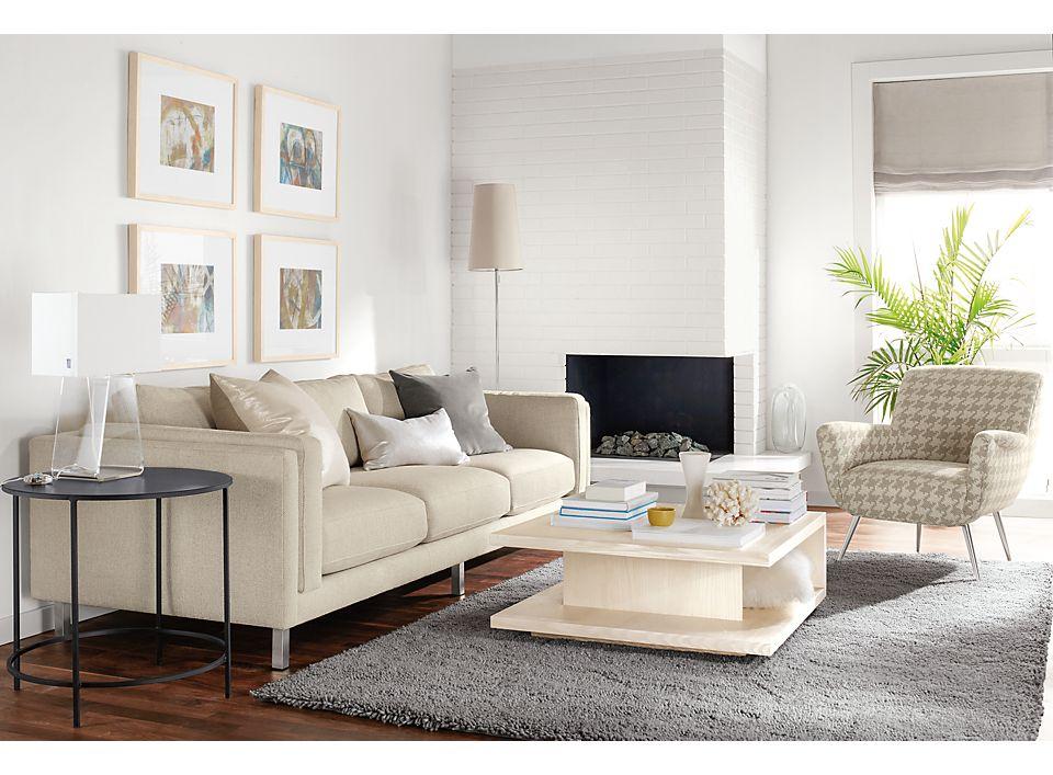 Detail of Cade three-cushion sofa