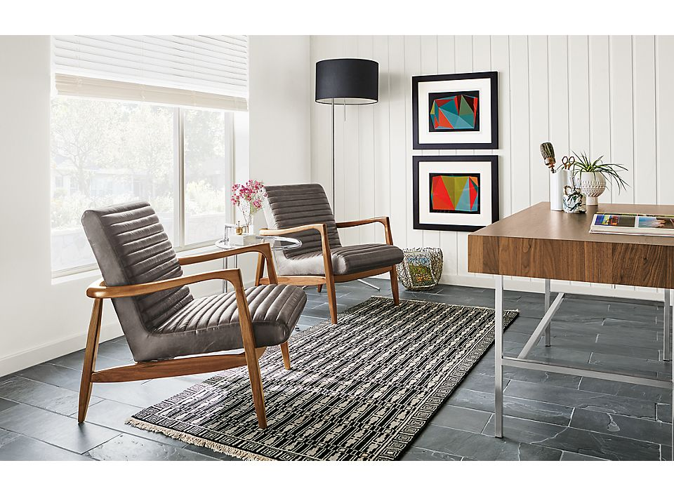 Two leather Callan chairs in modern home office