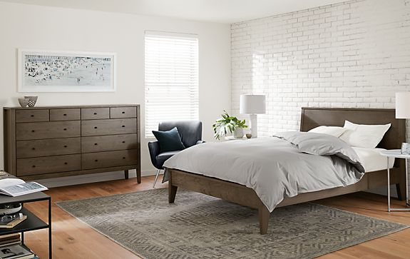 Calvin Bed & Dresser in Bark - Modern Bedroom Furniture - Room & Board