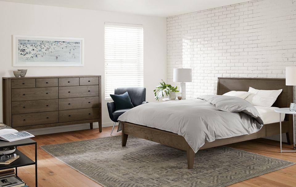 Calvin queen bed and ten-drawer dresser in bedroom