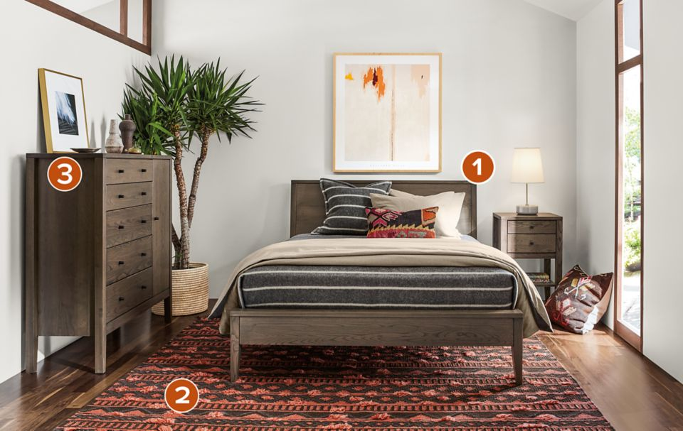 Detail of Calvin bed in transitional-style bedroom