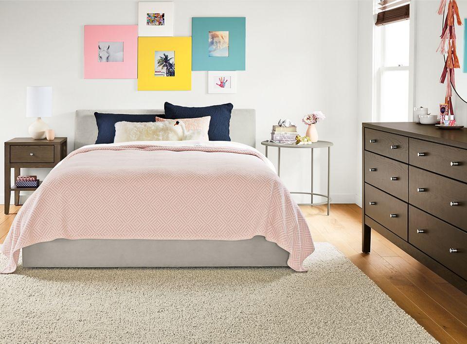 Calvin dresser and nightstand in transitional bedroom