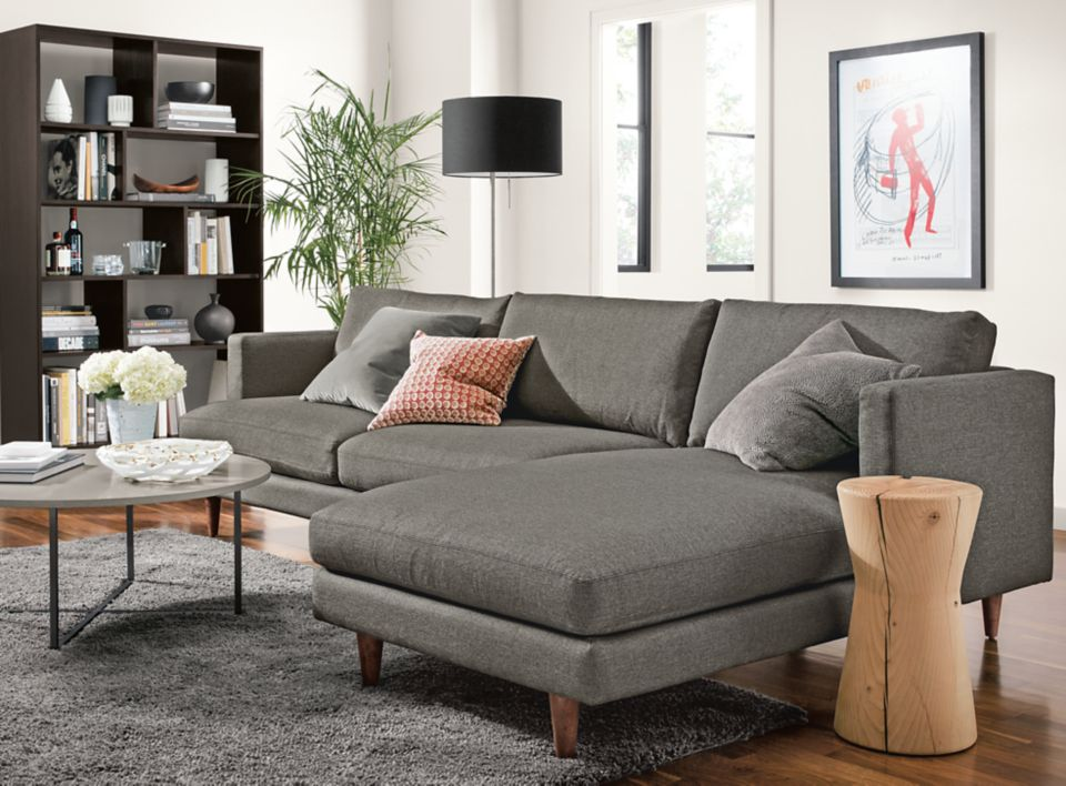 Detail of Campbell sofa with right-arm chaise