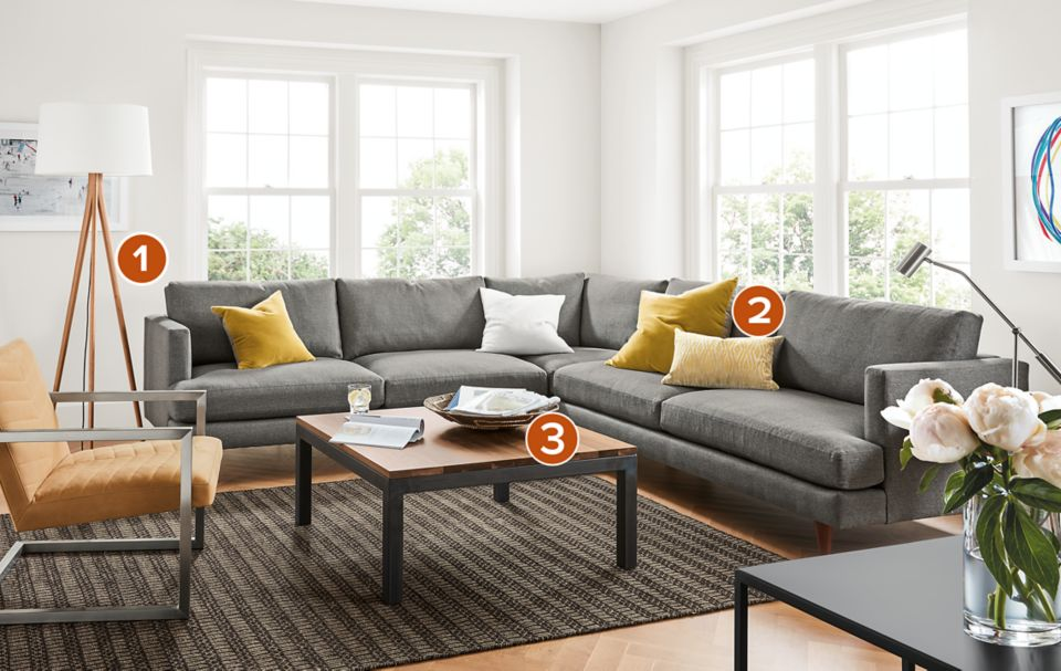 Campbell grey sectional in modern living space