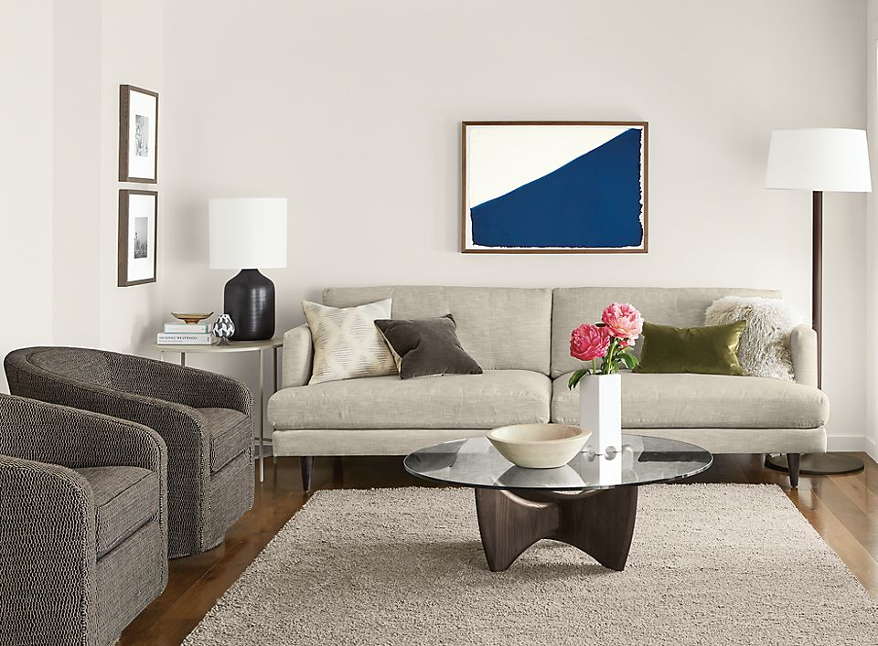 Campbell two-cushion sofa in transitional living room