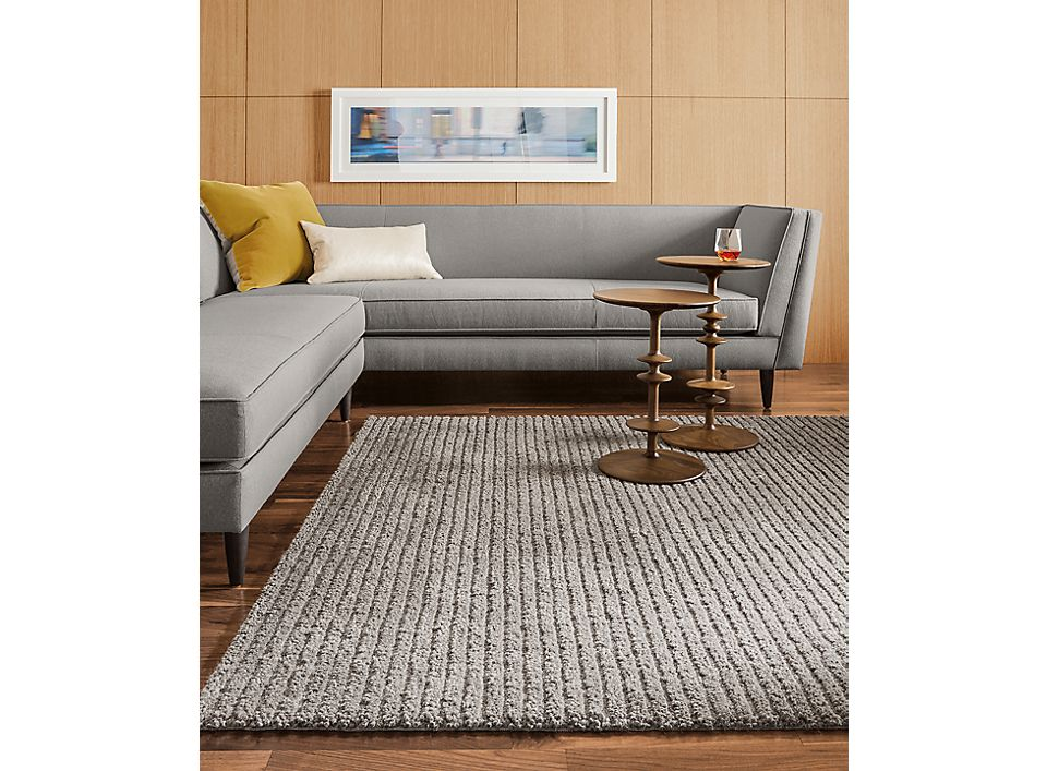 Detail view of Naomi sofa and Cardiff rug