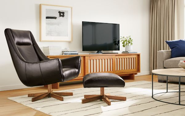 Charles Custom Leather Swivel Chair With Wood Base Modern. Fancy Room And  Board ...