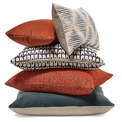 Pumpkin Indigo Pillow Ensemble Modern Throw Pillows Bedroom Furniture Room Board