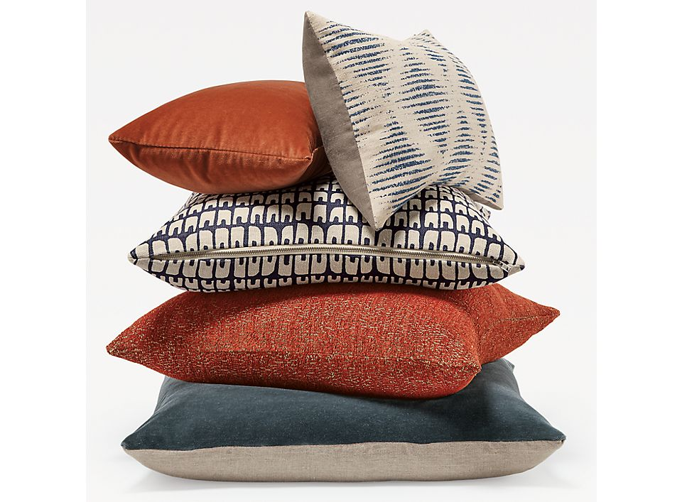 Detail of stack of throw pillows