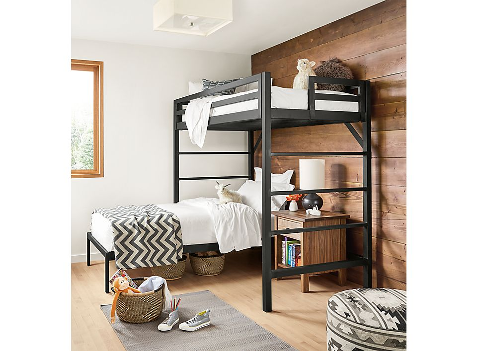 Chase loft bed and Core platform bed in kid room