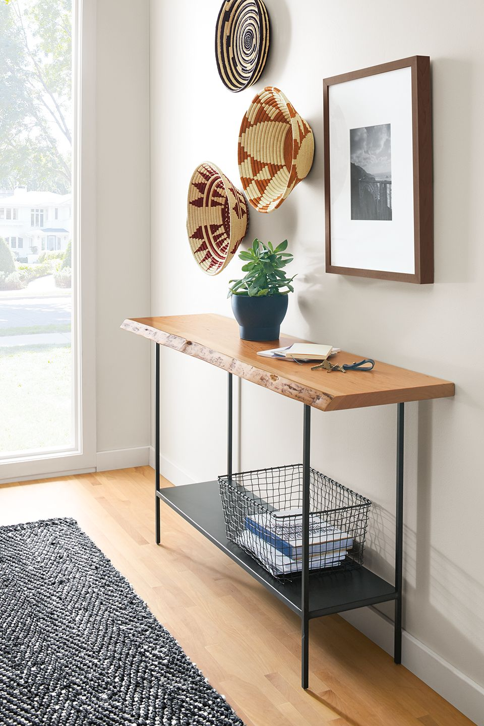 Side detail of Chilton console table in entry