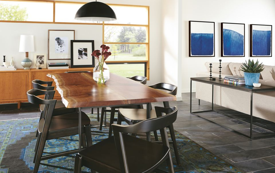Chilton walnut dining table in open concept