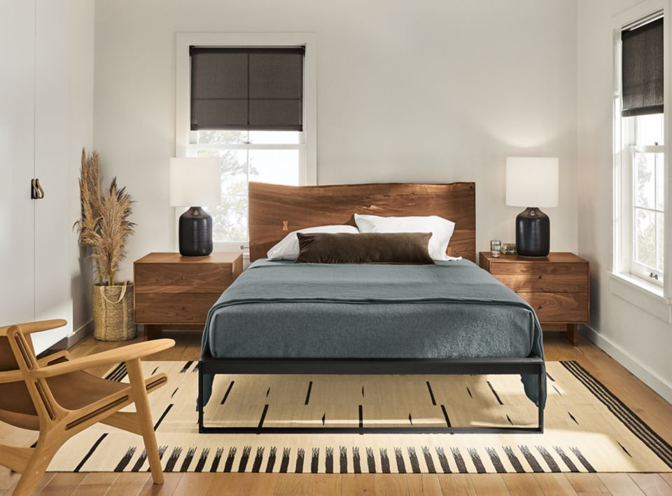 Detail of Chilton queen bed in walnut