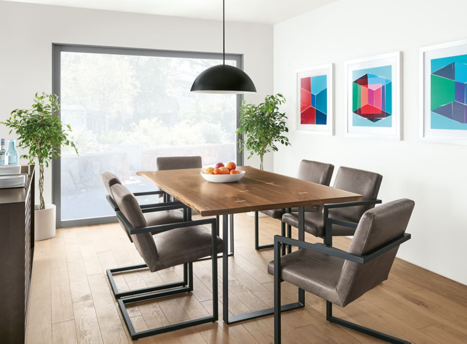 Chilton walnut dining table in modern dining room