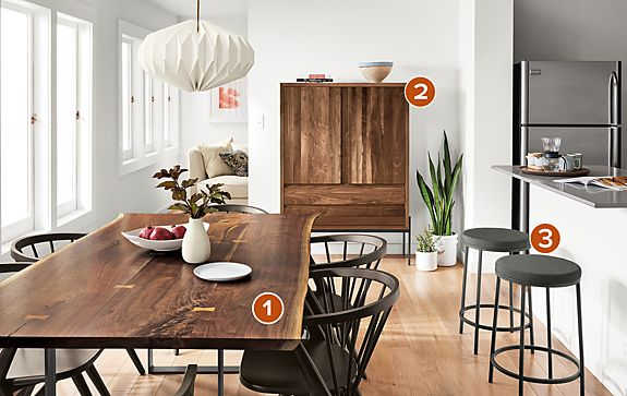Chilton Walnut Dining Table with Kinley Storage