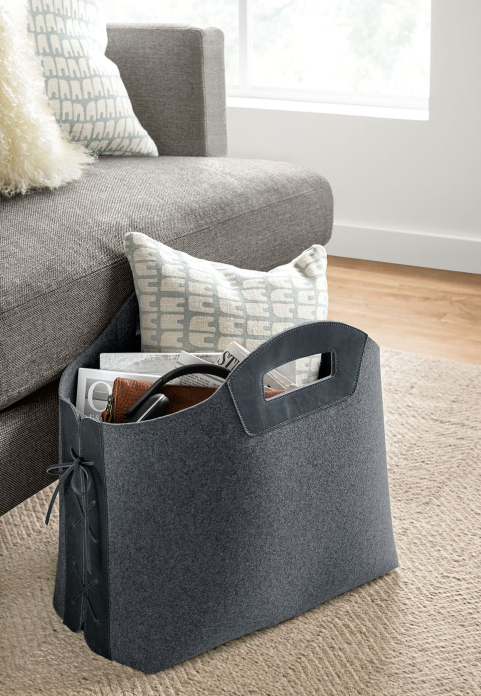 Detail view of Collette large felt storage basket