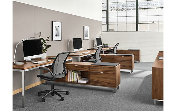 Collaborative Workstations in Walnut
