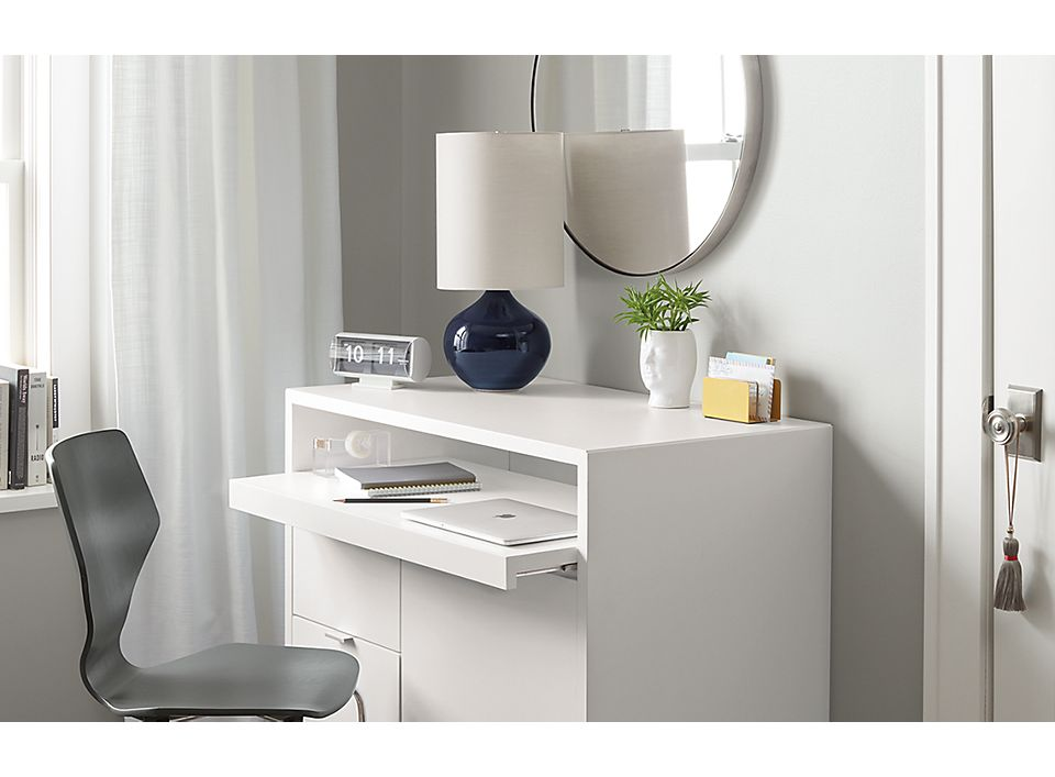 Side detail of white Copenhagen office cabinet