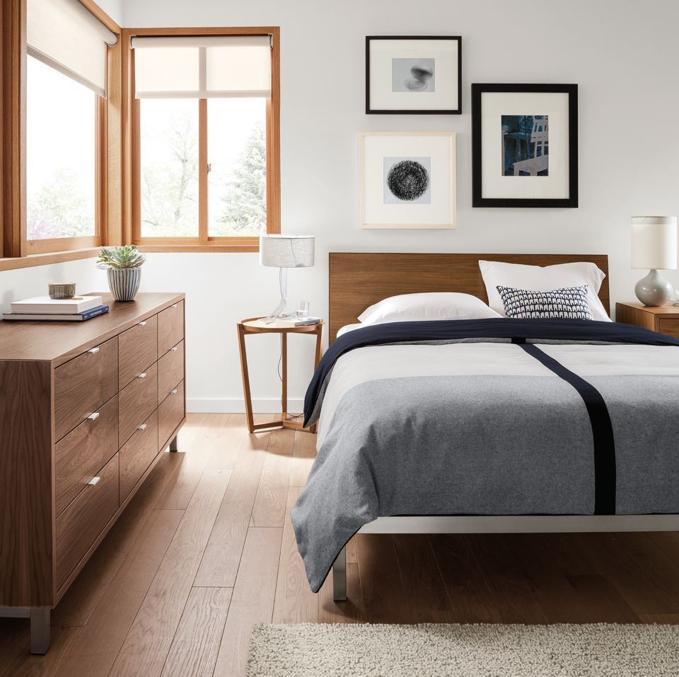 Copenhagen bed and dresser in modern bedroom