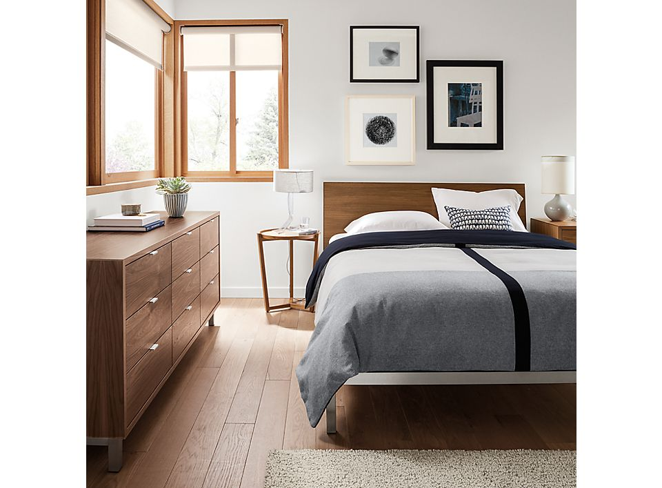 Copenhagen bed and dresser in modern bedroom