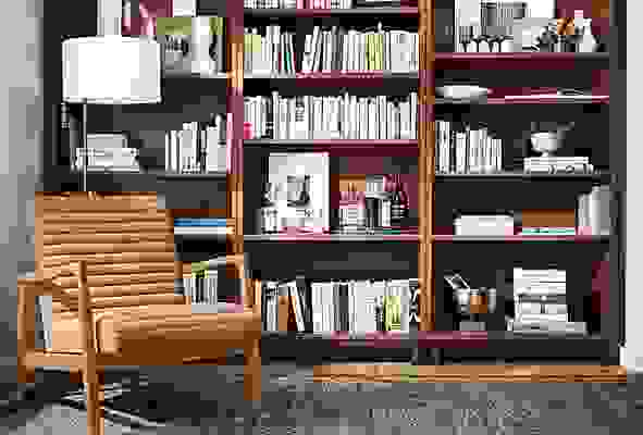 Detail of 3 Copenhagen bookcases in Cognac side by side