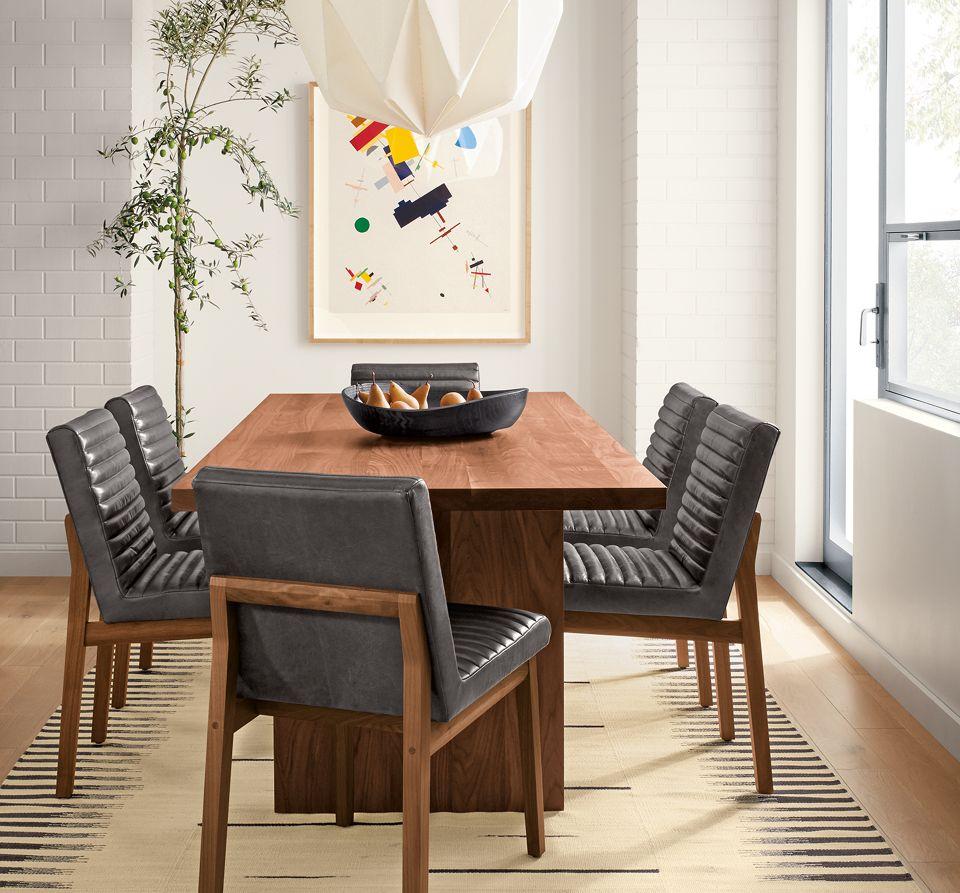 Corbett walnut table with Olsen chairs
