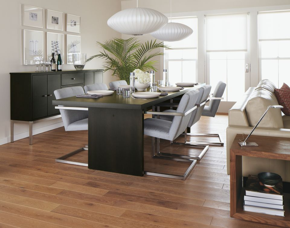 Corbett dining table in modern dining space
