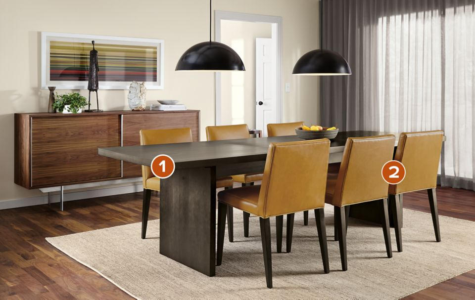 Corbett dining table in charcoal