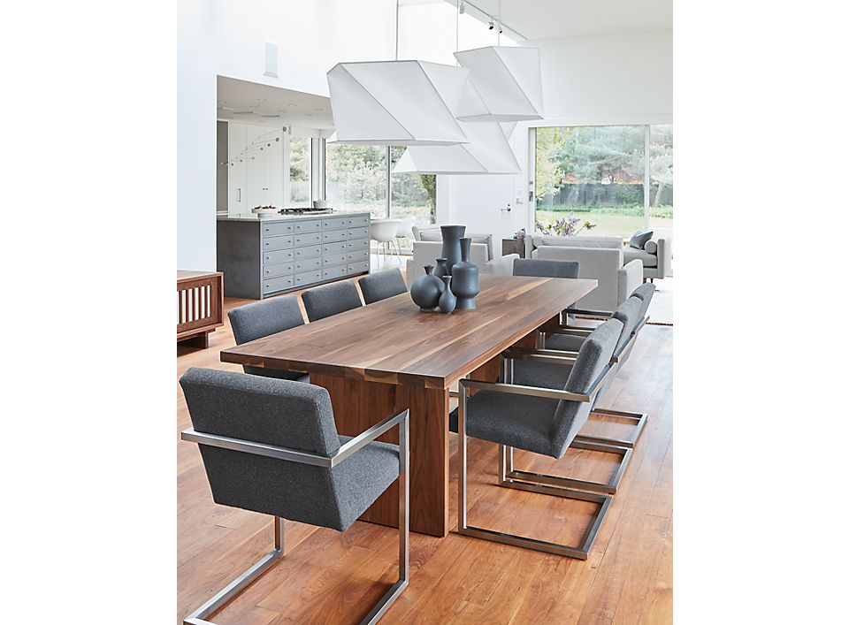 Side detail of Corbett table and Lira chairs