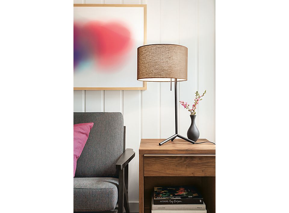 Detail of Crane table lamp on nightstand