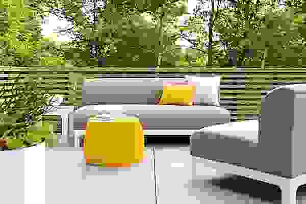Detail of Crescent outdoor sofa and armless chair
