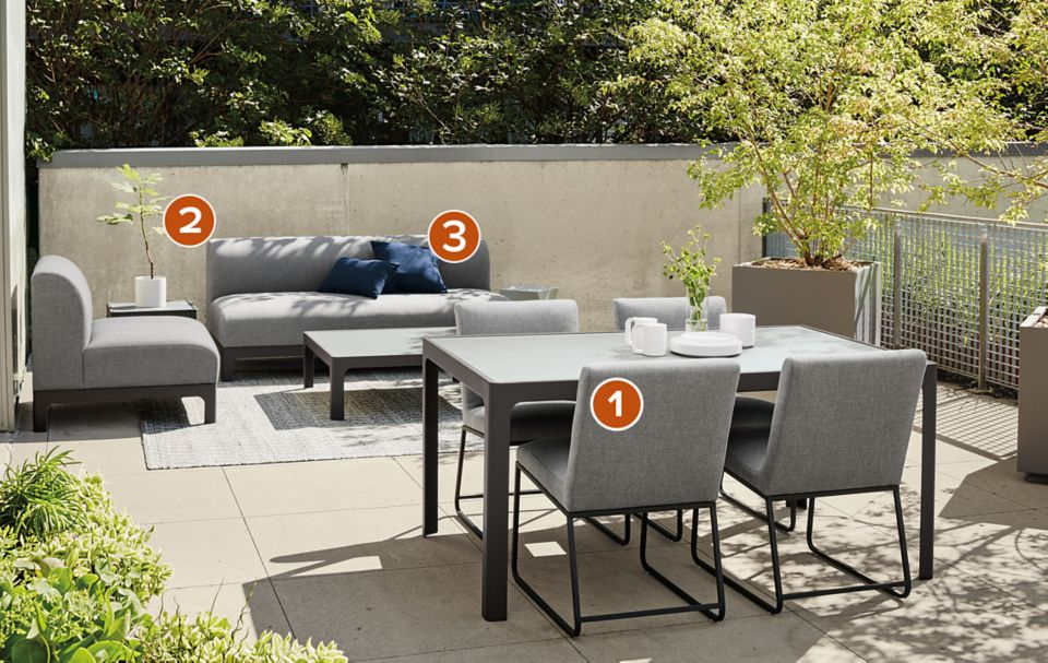 Outdoor living and dining space with Crescent outdoor furniture
