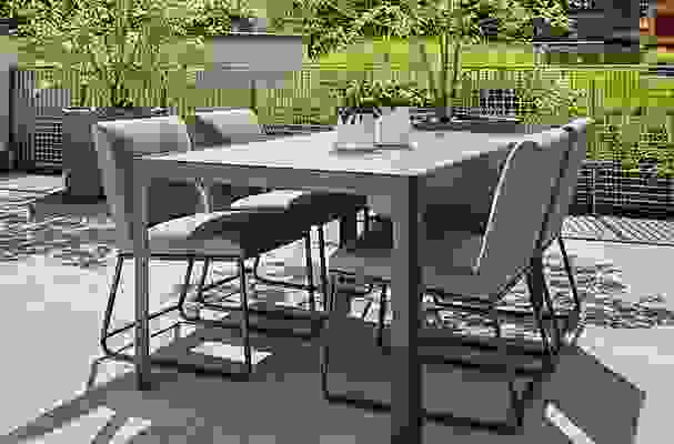 Outdoor Crescent table and Carmel dining chairs
