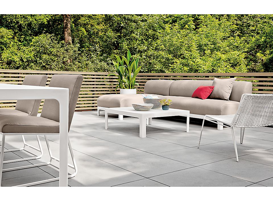 Side detail of Crescent outdoor sofa on patio