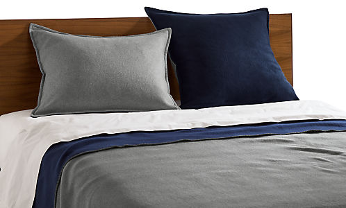 Detail of grey and navy Cunningham bedding