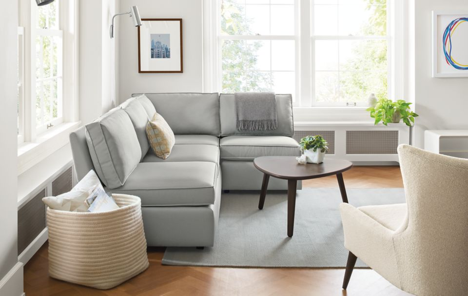Three-piece Damon sectional in small living room