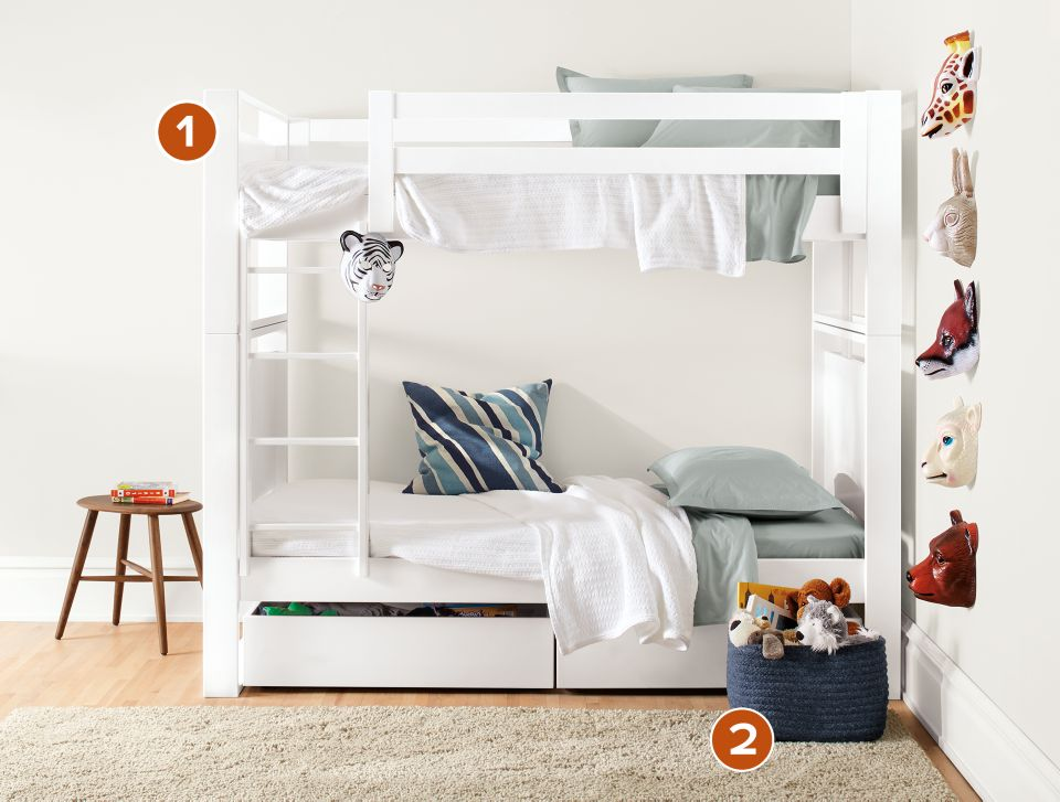 Side detail of Dayton twin-over-twin bunk bed