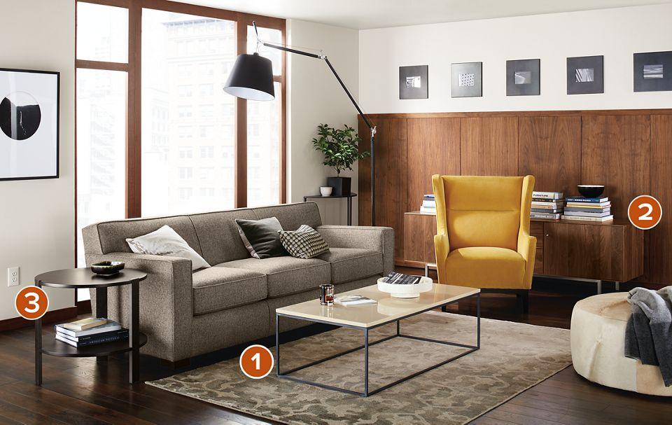 Dean three-cushion sofa in apartment living room