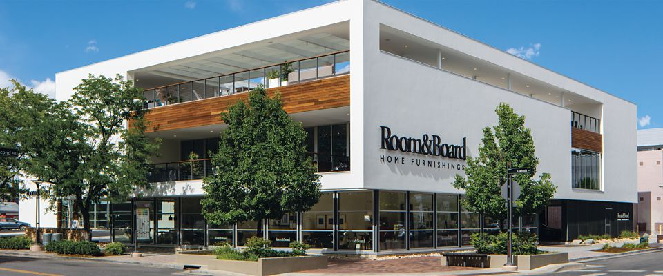 Room & Board Denver is a modern furniture store in Denver with a rooftop and floors of home design inspiration.