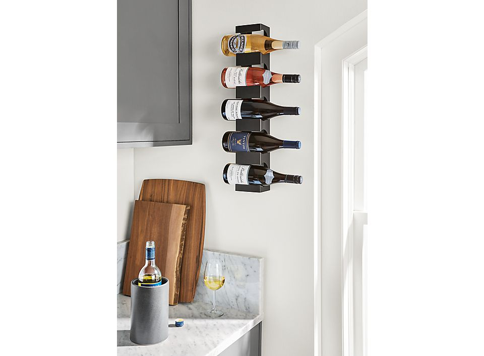 Detail of Dorsey wine rack on wall