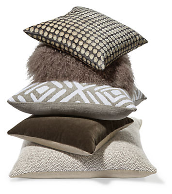 Detail of taupe accent pillow stack
