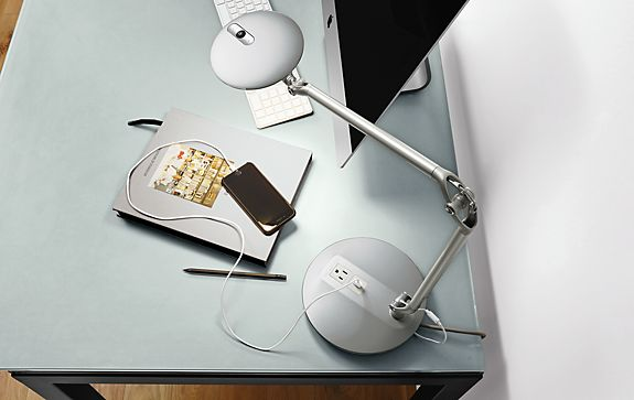Element Disc™ LED Table Lamp with USB and Outlet