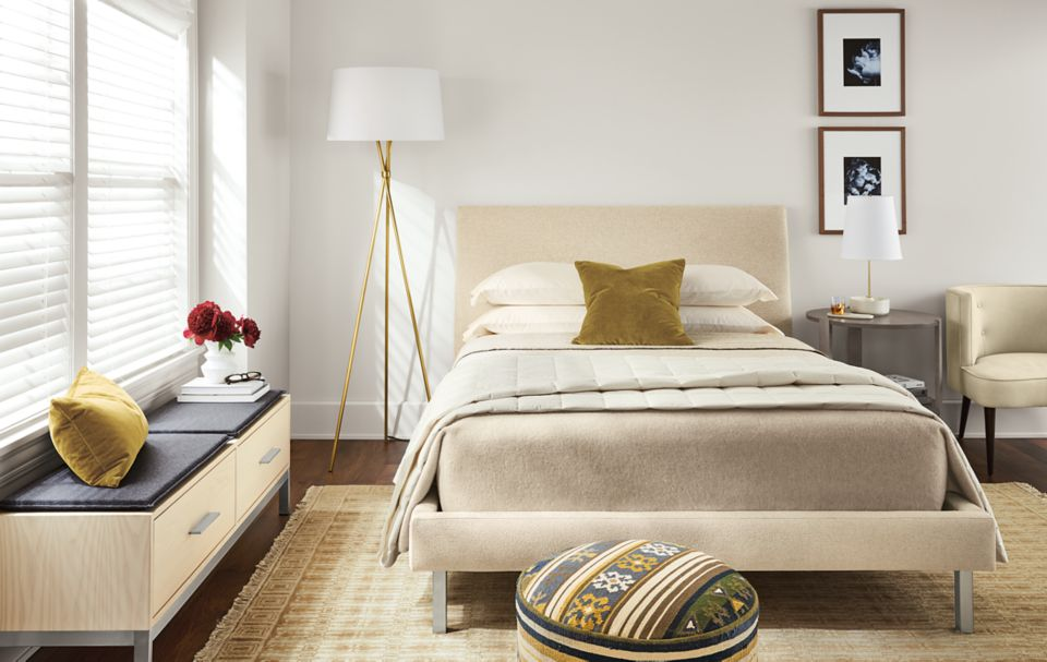 Detail of bright feminine bedroom with Ella bed