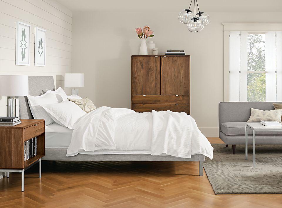 Modern feminine bedroom with Ella bed