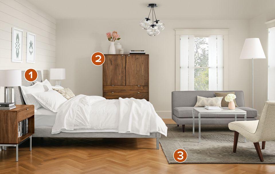 Detail of Ella upholstered bed in bedroom