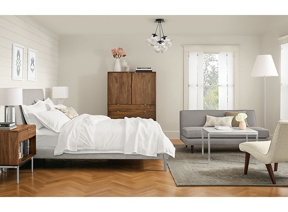 Modern feminine bedroom with Ella bed